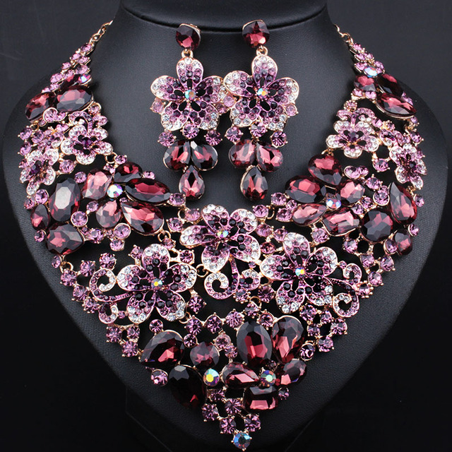 Top Quality Crystal KC Gold Plated Necklace Earrings Bridal Jewelry Sets Imitation Gemstone Jewelry Wedding Accessories