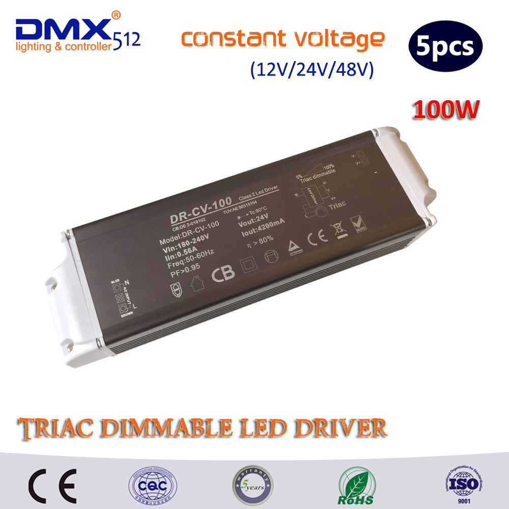 12V 24V 48V 100W constant Voltage TRIAC dimmable led driver dimming power supply lighting transformers converter