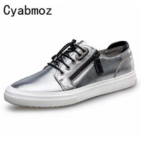 Plaid Genuine Leather Men Shoes Luxury Brand Woven Embossed Casual Shoes Lace Up Zapatos Hombre Fashion