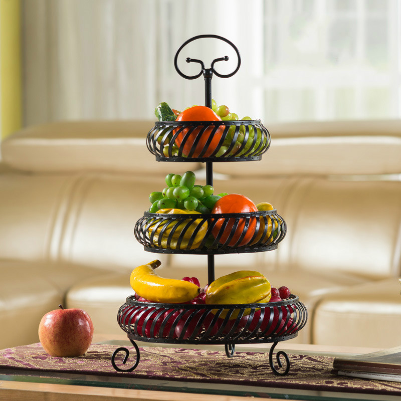 Multi layer fashion creative fruit bowl living room home kitchen storage rack three layer dried fruit
