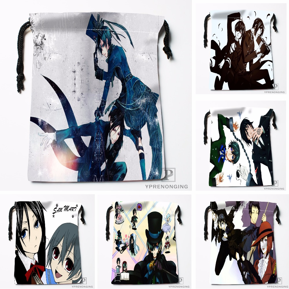 Custom Black Butler Drawstring Bags Travel Storage Mini Pouch Swim Hiking Toy Bag Size 18x22cm#0412-03-47