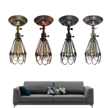 Retro American country industrial wind wall light wrought Creative small iron cage wall lamp for living room bedroom bedside цена 2017
