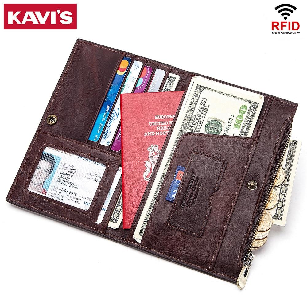 KAVIS Rfid Genuine Leather Passport Cover ID Card Holder Travel Credit Wallet Men Purse Case Driving License Bag Male Portomonee