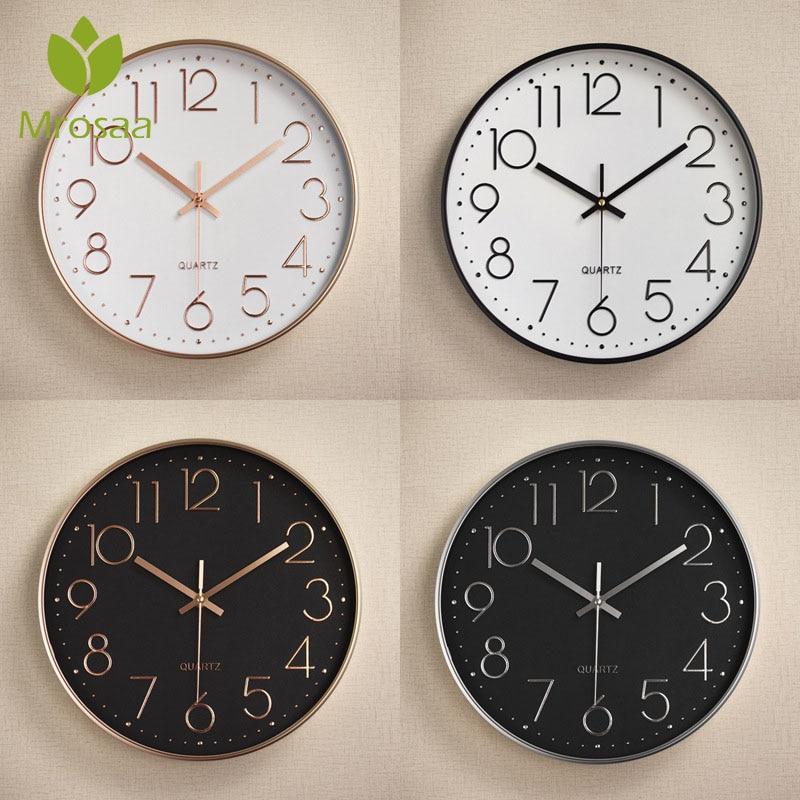 2019 Fashion Vintage Round Wall Clocks Modern Plasitc Clocks Quartz Horloge Watches Home Bedroom Living Rooms Kitchen Wall Clock