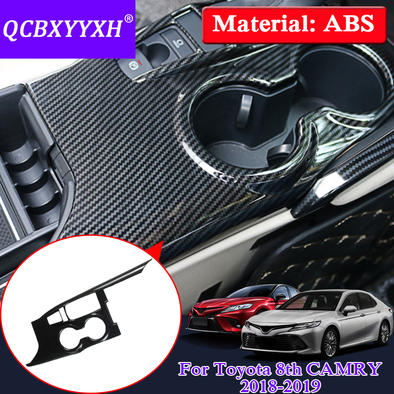QCBXYYXH Car Styling For Toyota 8th Camry 2017 2018 Interior ABS Gear Box Cup Holder Protection Cover Auto Internal Accessory car styling camry