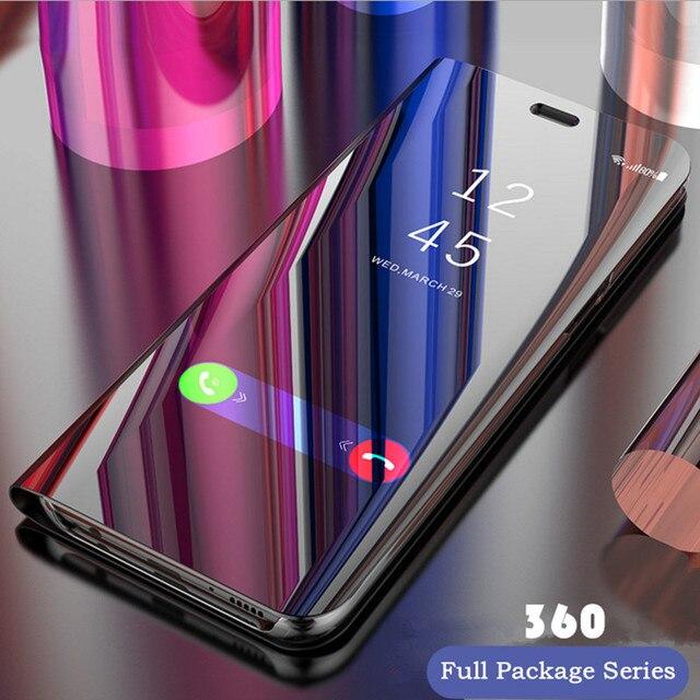Funda abatible con soporte transparente con espejo inteligente para iphone 6 6 S 7 Plus Funda de cuero de lujo para iphone X XS Max XR 8 8 plus teléfono caso