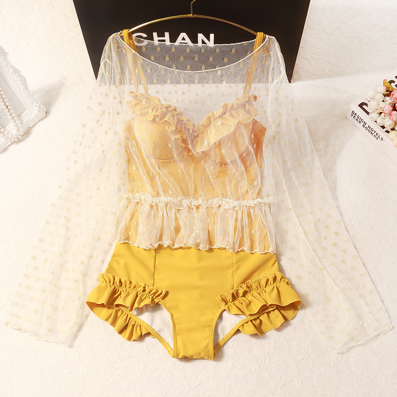 2020 New Yellow Backless One-piece Ruffled Side Bikini Tulle Polka Dot Perspective Sun Smock Ladies Beach Two-piece Bikini