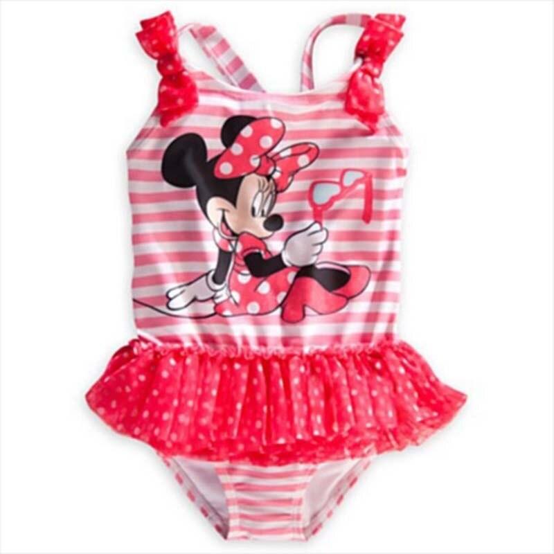 retail baby girl one piece swimwear minnie mouse swimsuit summer beach wear for girls stripe kids swimming suit