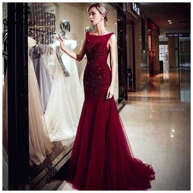Burgundy Mermaid   Prom     dresses   with Beaded Appliques vestidos de gala Tulle Backless Evening Party   Dress   for Women