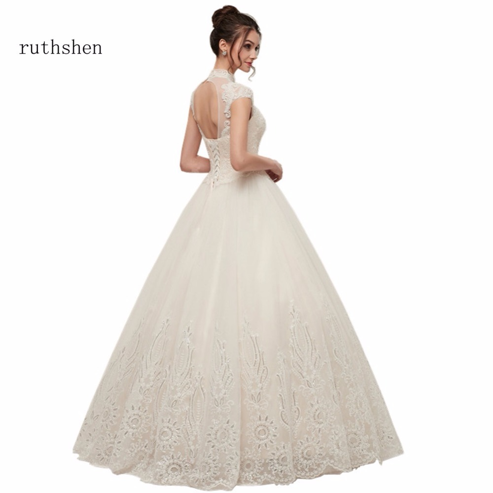 ruthshen Wedding Dresses Cheap High Neck Lace Appliques Beaded Tulle A Line Short Sleeves Bridal Gowns Vestidos Baratos 2018