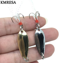1pcs Fishing small sequins 3g/5g Metal Spinner Spoon Lure Hard Bait Sequins Noise Paillette with Feather Treble Hook