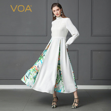 VOA Heavy Silk Pearl Beading Swing Dress Plus Size 5XL White Women Party Lantern Long Sleeve Belt Print Slim Tunic Spring A138