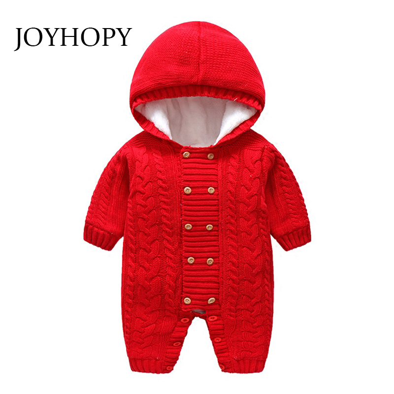 db24acb45 Thick Warm Infant Baby Rompers Winter Clothes Newborn Baby Boy Girl Knitted  Sweater Jumpsuit Hooded Kid Toddler Outerwear-in Rompers from Mother & Kids  on ...
