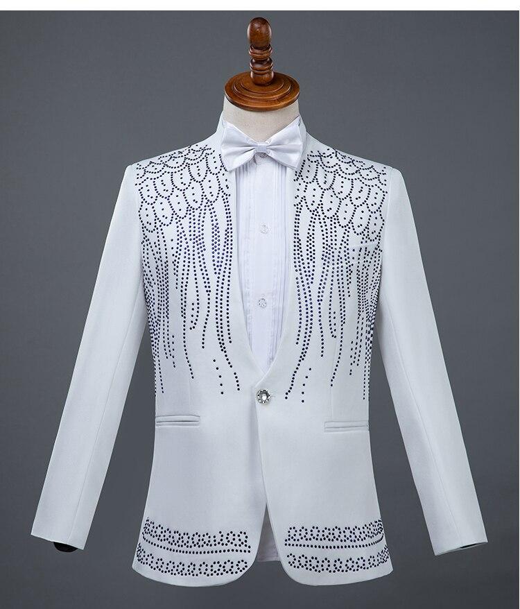 Formelle Blanc Noir Clignotant Scène Pantalon Hôte Cristaux Prom Principal black Mâle veste Slim Chanteur White Costumes Party De Blazers Danseur SwBWpx5qq