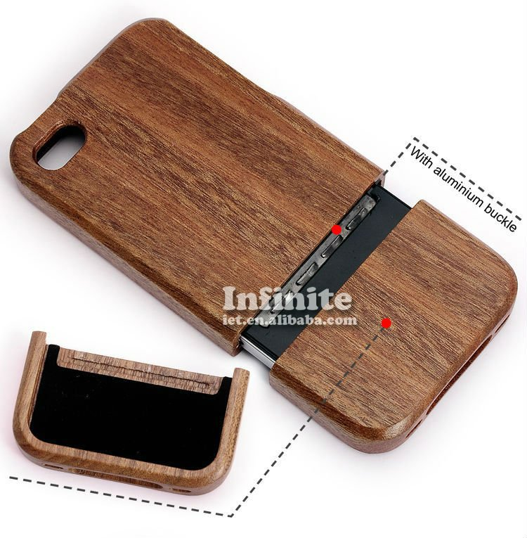 For iPhone Case Wood Combined 2 Piece with Aluminum Card Buckled Wood Case for iPhone 4s 4