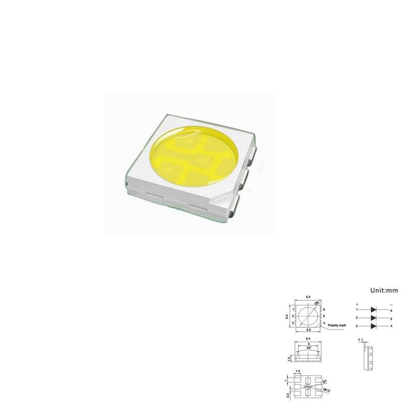 100pcs SMD PLCC LED 5050 White Ultra Bright 18-22LM 60mA 3V Surface Mount SMT Chip LED SMD5050 Light Emitting Diode Lamp LED5050