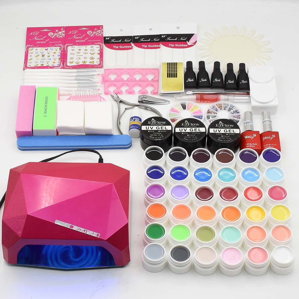 Jewhiteny Manicure Set UV Lamp Nail Set & 36 Color UV Gel Nail Polish Tools Set Solid Extension gel Nail Art Kits for Manicure
