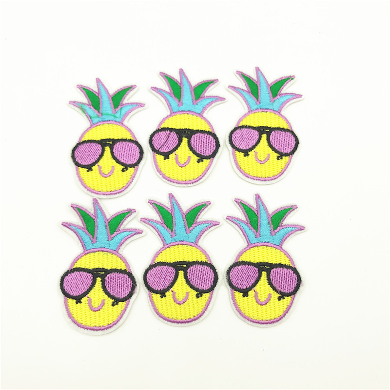 50pcs Pineapple Embroidery Patch Heat Transfers Iron On Sew On Patches for DIY Coat Clothes Stickers 5 5 3 5cm in Patches from Home Garden
