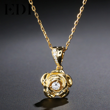 EDI Trend Real 0.1ct Round Cut Natural Diamond Pendant For Women Soild 14k Gold Necklace Chain Beauty and The Beast Jewelry