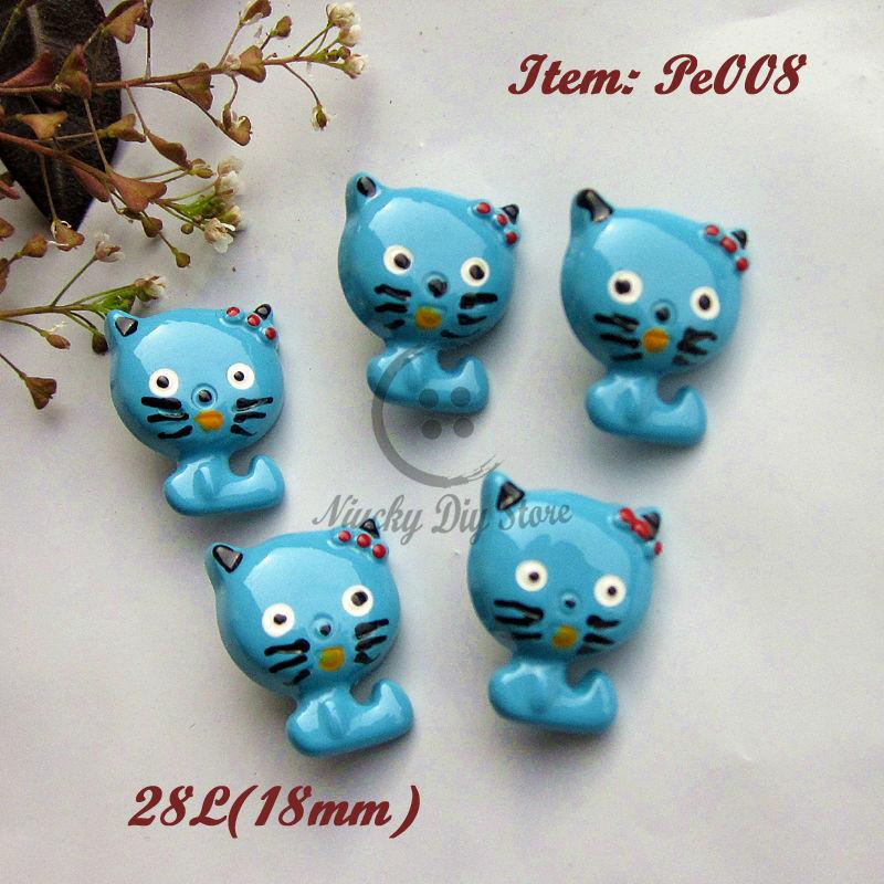Bionic buttons 24pcs Blue little cat shape buttons eco-friendly animal cartoon buttons for Diy craft decorative accessories