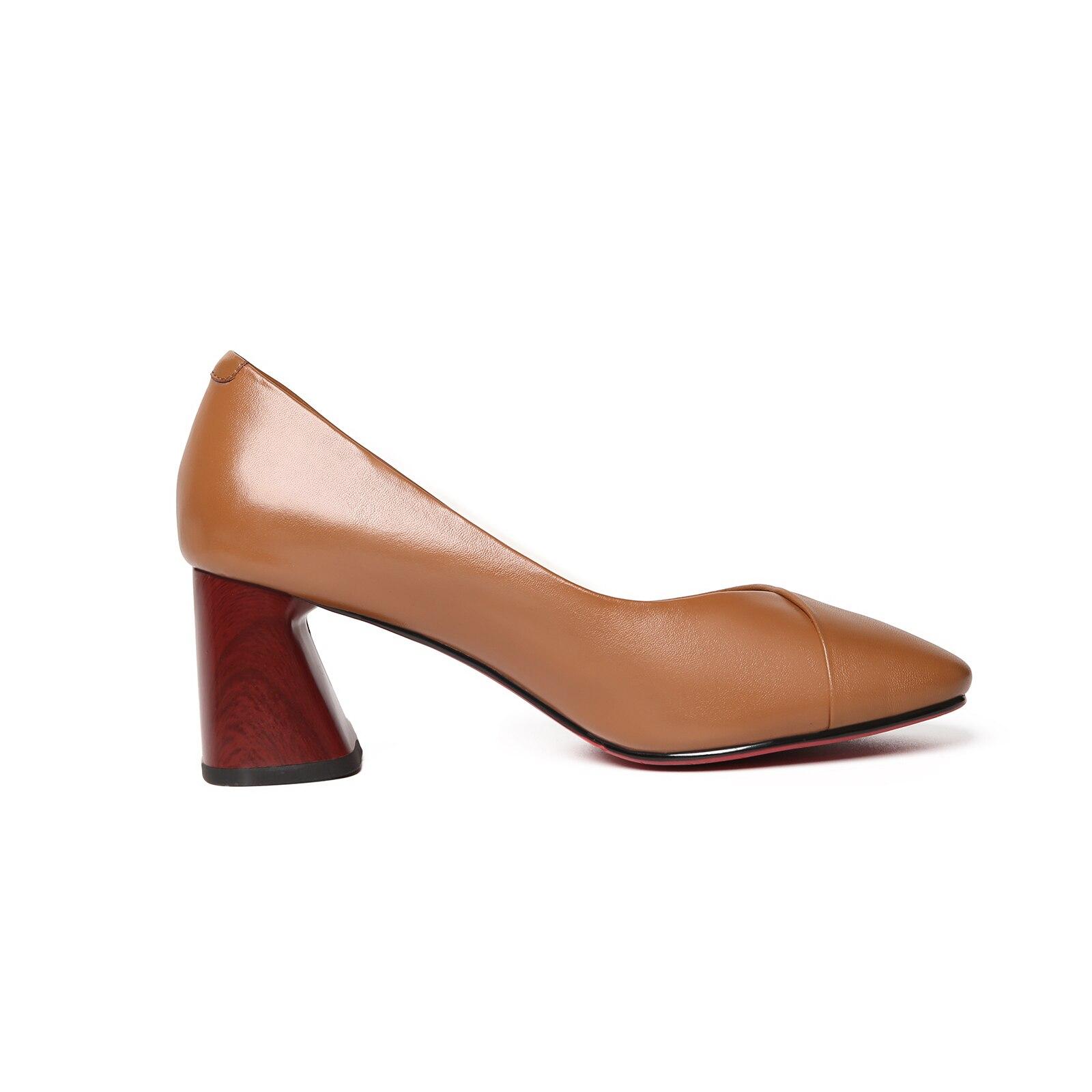 Bureau Noir jaune Véritable Carrière En Cuir Haute Chaussures Talons 2019 Mode Salu Carré De Et Solide Pompes Femmes TFac1
