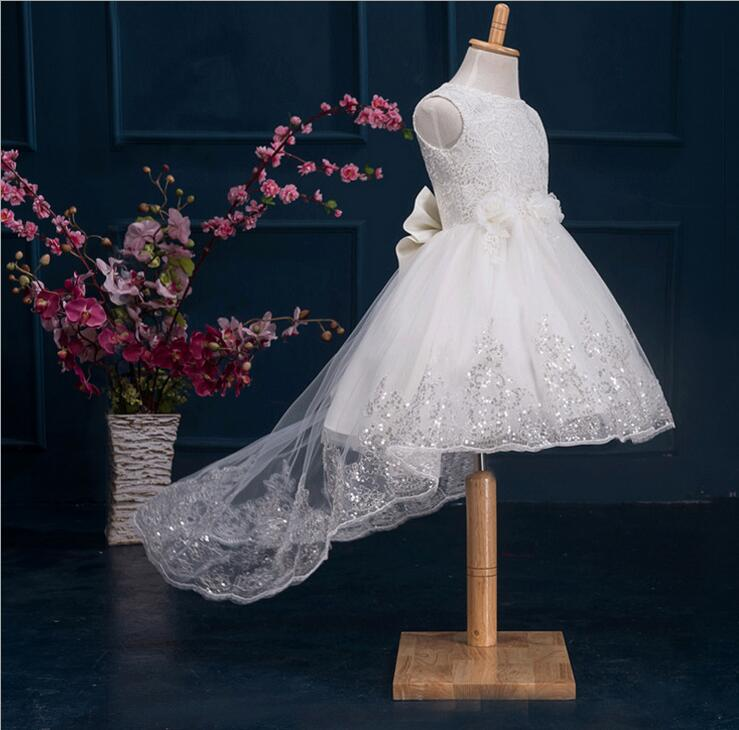 Toddler Girl White Baptism font b Christmas b font Gown Baby Girls Princess Dresses 1 Year