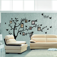 Large Size 200 250Cm DIY Photo Tree Wall Stickers For Living Bedrooms Home Decor Black PVC
