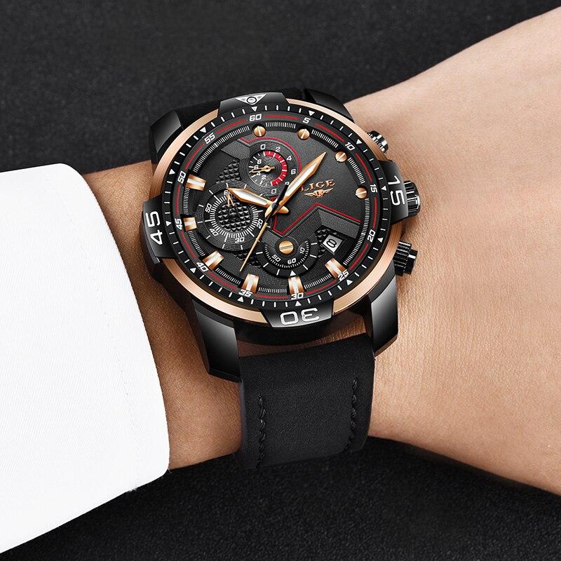 LIGE New Men Watches Top Brand Luxury Leather Quartz Clock Male Sport Waterproof Men Fashion Men Wristwatch Relogio Masculino in Quartz Watches from Watches