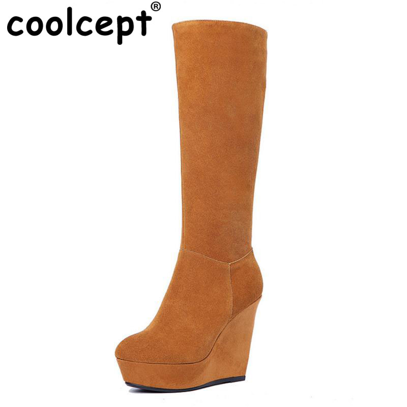 Фото Coolcept Winter Shoes Women Real Leather Thick Platform Wedges Winter Boots For Women Zip High Heel Warm Plush Botas Size 34-39