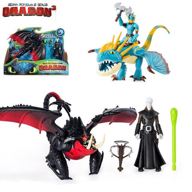Genuine Soluço & desdentado How to Train Your Dragon 3/luz fúria astrid & stormfly Snotout & Hookfang Grimmel brinquedo das crianças