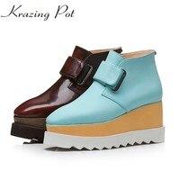 Krazing pot prawdziwej skóry moda uliczna kostki buty hak pętli wodoodporne kliny wysokie obcasy plus size moda winter boots L18