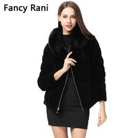 2018 New Black Sheep Shearing Coat Fox Fur Collar Women Winter Jacket Genuine Sheepskin Fur Coat Thick Warm Wool Overcoat