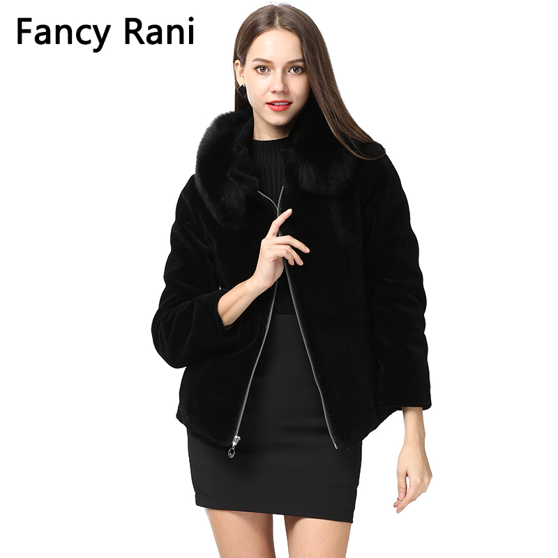2018 New Black Sheep Shearing Coat Fox Fur Collar Women Winter Jacket Genuine Sheepskin Fur Coat Thick Warm Wool Overcoat image