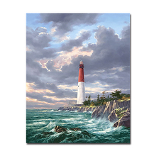 DIY By Numbers Digital Oil Painting Drawing On Canvas Home Decor Seaview Lighthouse Popular Wall Art Modular Abstract Pictures