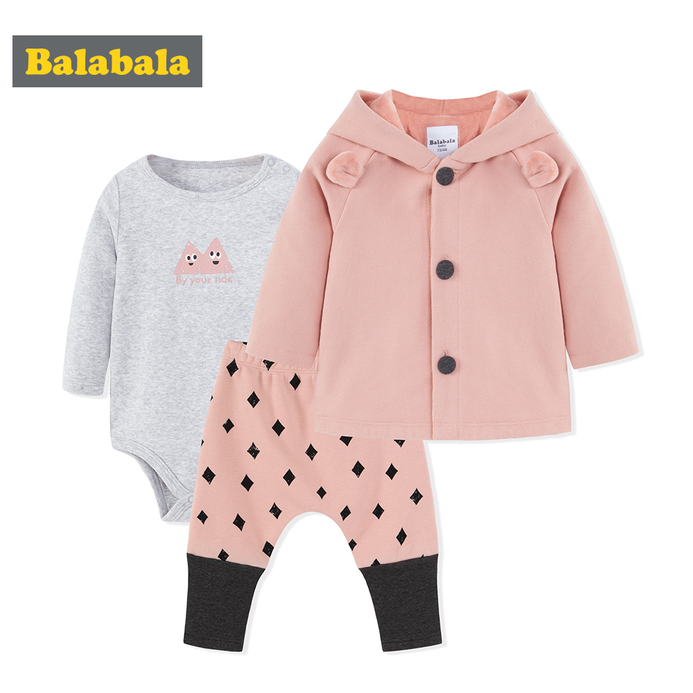 balabala Baby Clothing set For Girls Winter Newborns Three piece Hooded Baby Suits rompers + pants +jacket Infant clothes