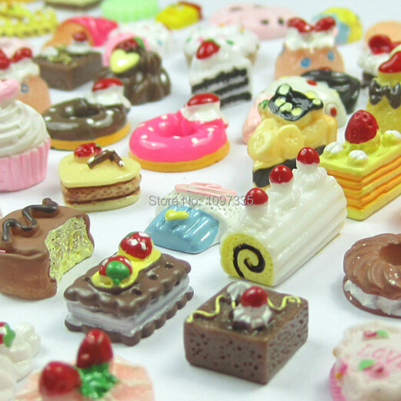 Free Shipping 30Pcs/lot Randomly 1/12 Mini Food Lovely Cake Soda Biscuit  Smoothies