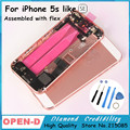 2016 NEW  Colorful Hard Metal Back Battery Housing Cover For iphone 5s like SE Middle Frame housing case red pink champange gold