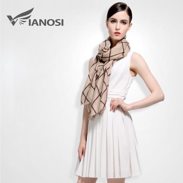 [Vianosi] algodón bufanda mujeres chales y bufandas de la mujer de la tela escocesa de diseño de moda de lujo de estilo europeo marca foulard regalo va028