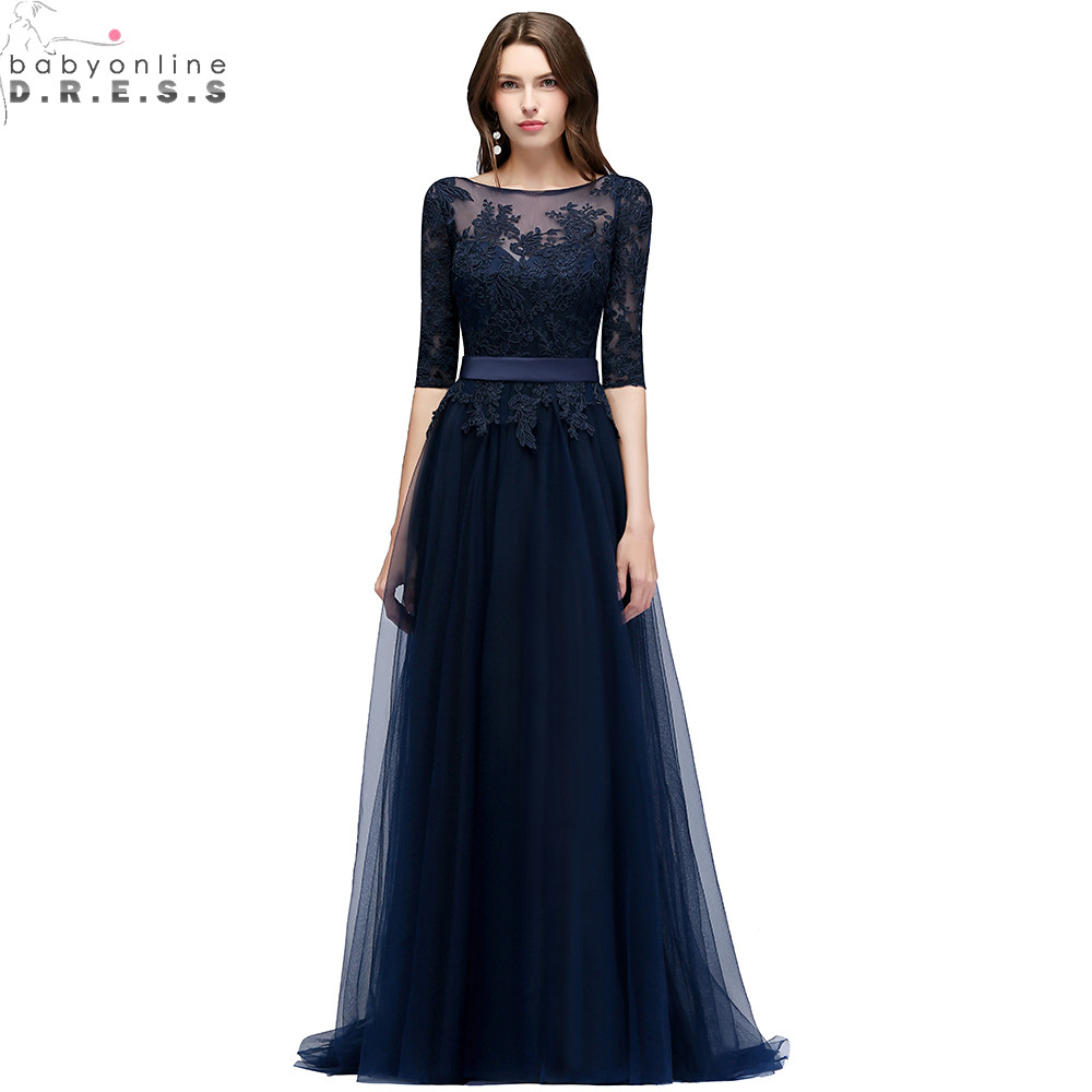 New Arrival Navy Blue Lace Long Evening Dress Elegant Half Sleeve Tulle Evening Gowns with Sashes