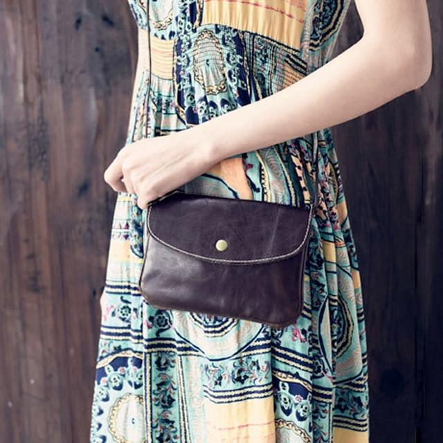 Hecho a mano de la vendimia de cuero principal de la capa oblicua femenina mini bolso pequeño bolso de piel de vaca, bolso móvil del bolso de hombro