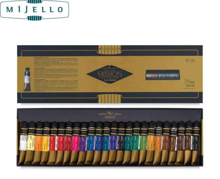 Hotsale Mijello 24 cores aquarela mestre alta concentração de ouro puro ouro missão natural pigmento aquarela tintas