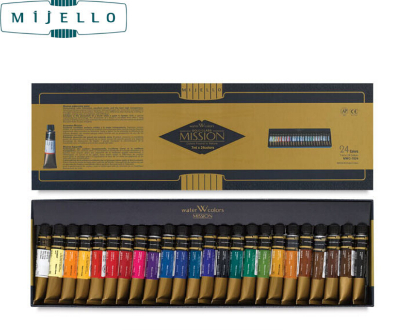 Hotsale Mijello or 24 couleurs aquarelle maître haute concentration pur d'or mission naturel pigment aquarelle peintures