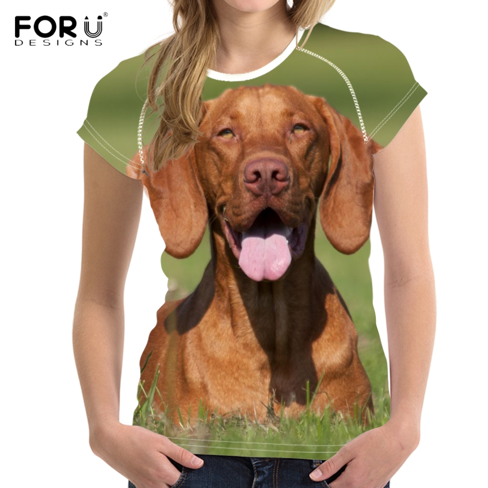 680ca3cae952 FORUDESIGNS Lovely 3D Dog/Puppy Vizsla Print Woman's T shirts Fashion  Summer Short Sleeve Tees Clothing Breathable Tshirts Girls-in T-Shirts from  Women's ...