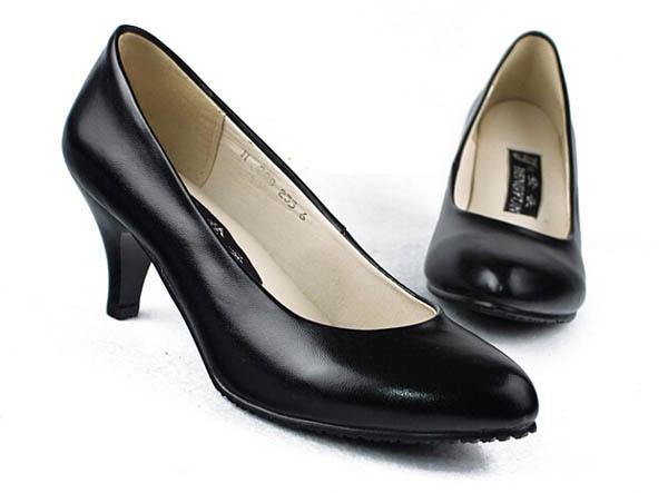 Noir mode mince talon vache split femmes bureau carrière infirmière