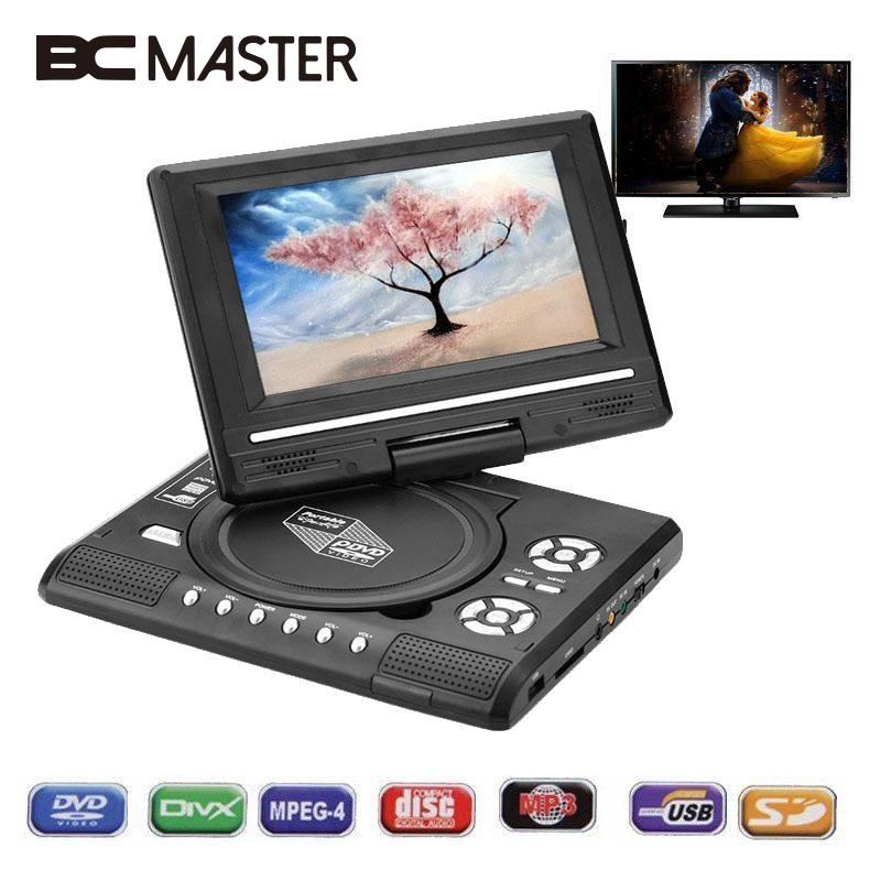 BCMaster 7.0 HD LCD DVD Player Rechargeable 270 degree Swivel Screen For Digital Video Player TV Game USB FM Radio AV 2018dvd player game player blu ray player portable rotatable 270 degree lcd gamepad 12v audio
