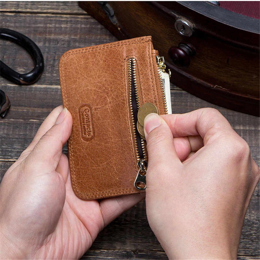 BISI GORO/чехол из натуральной кожи Малый Для мужчин кошелек Повседневное кредитной держатель для карт тонкий Для мужчин бумажник черный карты посылка монета с денежной сумкой Purs