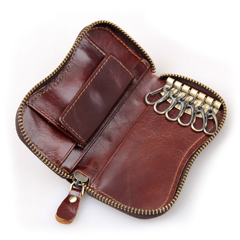 Vintage Cowhide Leather Key Case Cover Car Keychain Wallet Purse Card Holder