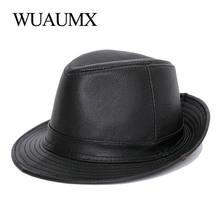 Wuaumx натуральная кожа коровья fedora шляпа для мужчин и женщин