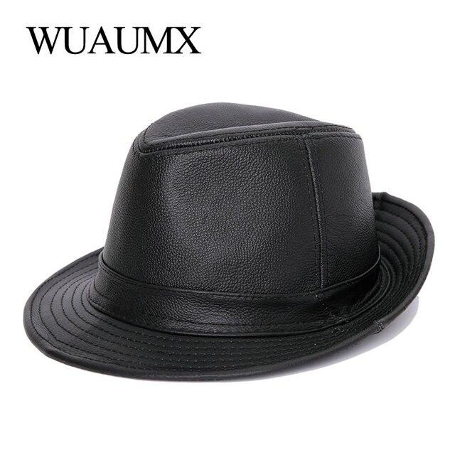Wuaumx Genuine Leather Cow Leather Fedora Hat For Men Women Cowskin JAZZ Hats Flat Top Gentleman British Style Fedoras Panama