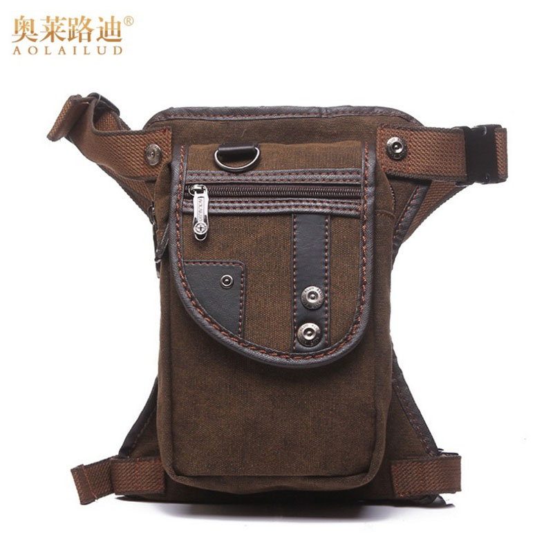 Menns lerret Drop Leg Bag Lår Hip Belt Bum Fanny Pack Midje Military Riding Motorsykkel Cross Body Messenger Skulderveske Ny